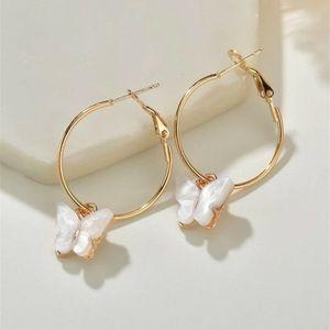 Jewelry - ⭐3/$30 |White Butterfly Pendant Gold Hoop Earrings